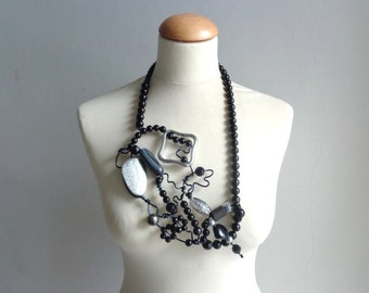 Black silver long statement necklace, black wire necklace