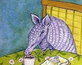 20 % off Armadillo at the Coffee Shop Animal Art Tile artwork