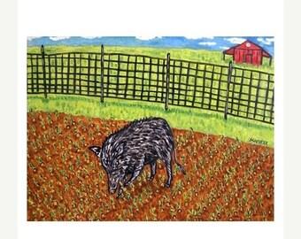 ON SALE Pig in the Garden Art Print
