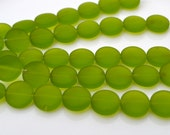 Olive Green Frosted 12mm Coin Beads 8