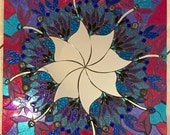 Stained Glass Mandala Mosaic Mirror pink blue floral