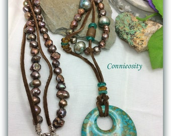 Unique #Boho  #Mosaic #Turquoise #Pendant  #Keshi Fresh Water #Pearls #Chocolate Brown #Suede #Bohemian #Double #Necklace #Czech #Glass
