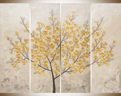 """Original Large Acrylic painting 48x36 Golden Flowers Tree painting Palette Knife home office wall art """"Petals of Filigree""""by QiQiGallery"""