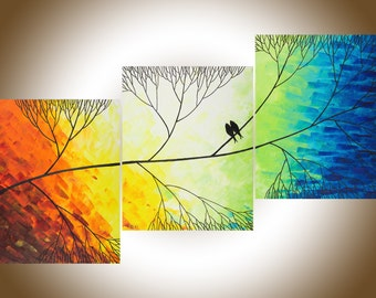 "48"" Acrylic landscape painting  Love Birds on tree branch wall art decorative art Wall decor canvas art ""Beautiful Day"" by QIQIGALLERY"