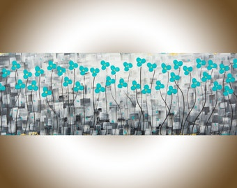 """Abstract art modern abstract painting teal flowers painting daisy original art wall decor narrow art wall art """"After the Rain""""by QIQIGallery"""