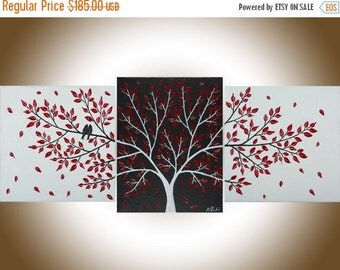 """Contemporary wall art white black red Set of 3 love birds painting wall decor Palette Knife canvas art """"Passionate Love"""" by qiqigallery"""