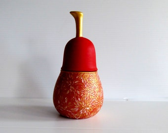 Red Pear: Hand Painted Ceramic Pear shaped jar Red and gold