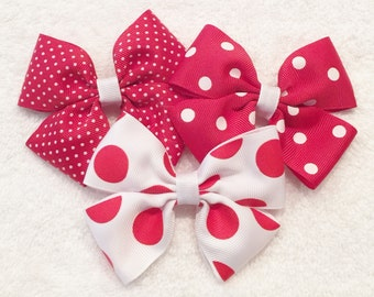 Red Polka Dot Bows Red And White Bows Girls Polka Dot Bows White Polka Dot Bow Girls Red Hair Bows Barrettes And Clips Polka Dot Hair Clips