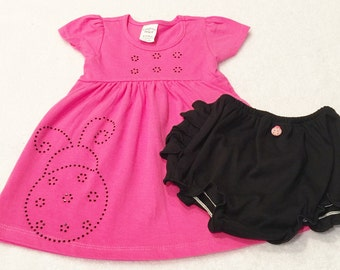 Pink Ladybug Dress Infant Dress Set Dress Bloomer Set Baby Dress Set Pink Baby Dress