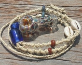 RESERVED FOR TONI Dope On A Rope Hemp Necklace with Glass Pipe Mt Shasta Glass