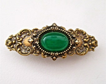 Green Jade Cabochon and Antiqued Ornate Brass Barrette
