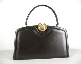 Vintage 50s Large Handbag in Brown Pleather by Mastercraft