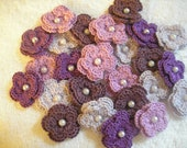 Crochet Double Layered Flowers Bulk set of 25 with a Purple Theme