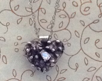 ORIGINAL and Authentic TORTURED HEART Handcast Sterling Silver Pendant with Pear-Shaped Cubic Zirconia on AdjustablecSterling Chain