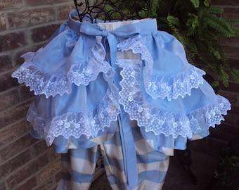 Bustle skirt, Saloon girl skirt, blue plaid tafeta, Victorian, overskirt