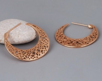 On SALE 25% OFF Rose Gold Hoop Earrings, Rose Gold Earrings, Filigree Earrings, Pink Gold Earrings, Unique Hoop Earrings, Tribal Earrings