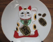 Maneki Neko Good Luck Cat Plate and Stand