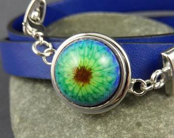 Popper bracelet, chunk bracelet, snap bracelet, leather bracelet, wrap bracelet, blue bracelet, popper not included