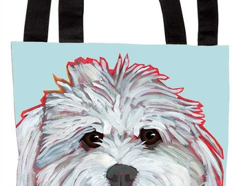 Mommy's Little Girl canvas tote bag, purse, coton de tulear, maltipoo, maltese, bichon, cotton dog