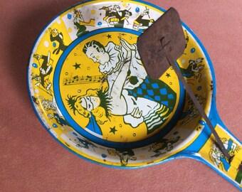 ANTIQUE NOISEMAKER CLAPPER vintage party toy, Art Deco, fun collectible, celebration, great graphics