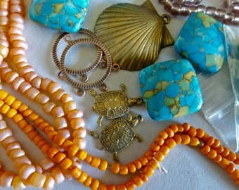 Mix of Assorted Vintage and New Beads to Play With OOAK   (E)