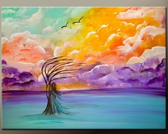 "Abstract Canvas Art Painting 24"" Original Contemporary Landscape Cloud Tree Art by Destiny Womack - dWo - After the Storm"