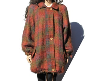 Wool and Mohair Plaid Jacket Coat