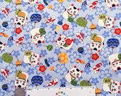 Japanese LUCKY CATS BLUE Koi Fish Cotton Quilt Fabric Yard Fq Money Cat Chinese Kawai Asian Tokyo Japan Edo Period Oriental China Paw
