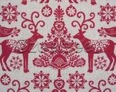 SCANDI Red Cream Christmas REINDEER Scandanavian Holiday Quilt Fabric by the Yard, Half Yard, or Fat Quarter Fq Swedish Folk Art