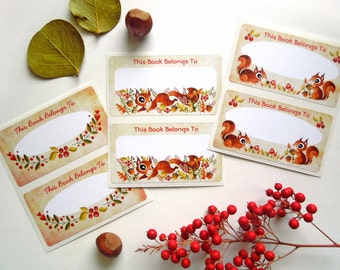 Playful Squirrels Bookplates, Set of 6 Adhesive Labels - Book Lover Gift - Woodland Bookplates