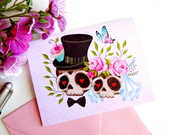 Sugar Skull Love Wedding Note Card w/ Pink Euro Flap Envelope, Sugar Skull Bride & Groom Greeting Card