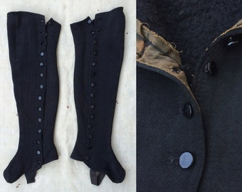 antique early 1900s black over-the-knee cotton fleece gaiters / leg warmers