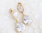 Gold Bridal Earrings CZ Cubic Zirconia Wedding earrings, Teardrop, yellow Gold Bridesmaid Earring, gold teardrop earrings, bridal party