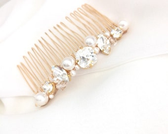 Gold Rhinestone Wedding Hair Comb, Rhinestone Bridal Comb, Swarovski Pearl Wedding Comb,  Simple Pearl Comb for Wedding ELISE