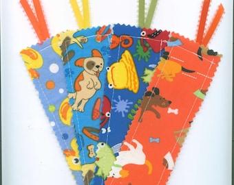 Handmade Fabric Bookmark, Set of 4, CHILDREN'S,  Book Accessory, Teacher Gift. Small Gift, Bookmark w/Ribbon, Stocking  Stuffer