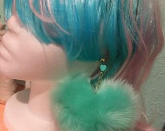 Fluffy Heart Pom Pom Pastel Earrings, 4 colors