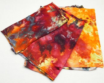 Red Orange Ice Dyed Jersey Scarf Gold Purple Hand Dyed Tee Shirt Scarf - Heirloom Tomato1