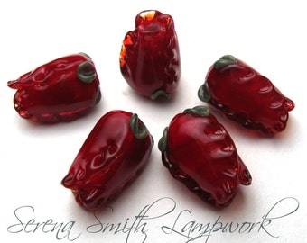 RED ROSES, Lampwork Beads, sra lampwork, lamp glass beads, Valentines beads