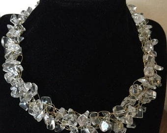 Hand Made Crochet Necklace with Crystal Quartz