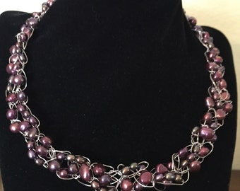 Hand Made Necklace with Fresh Water Pearls.