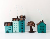 House warming gift, Four buildings of felt, with a tree. Miniature in turquoise green colors.