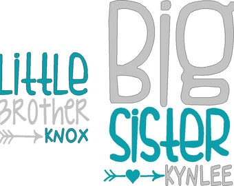 Little sibling and two Big sibling iron on decals do it yourself tshirt not included