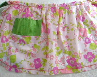 Vintage Half Apron Pink and Green Kitchen Linens Retro Mod Flower Power