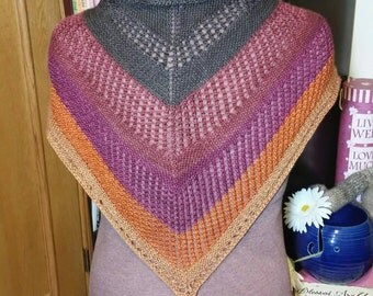 Hand-Knitted Striped Mesh Shawl - Red/Orange/Brown
