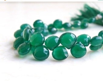 Clearance SALE Green Onyx Gemstone Briolette Faceted Heart 5mm to 6.5mm 28 beads 1/2 Strand