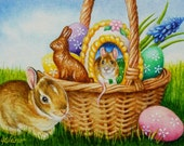 Mouse Bunny Rabbit Easter Eggs Basket Limited Edition ACEO Giclee Print reproduced from the Original Watercolor