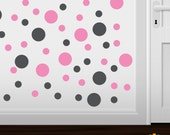 Set of 30 Dark Grey / Pink Vinyl Polka Dot Wall Decals Circles Stickers (Peel & Stick Decal Circle Dots)
