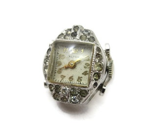 Art Deco Ring Watch - Rhinestones, Silver Tone