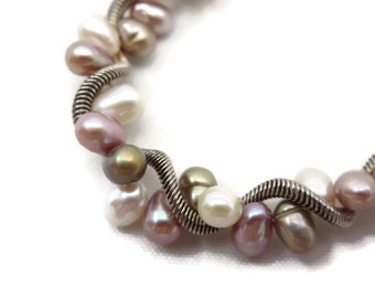 Sterling Pearl Bracelet - Toggle Clasp, Freshwater Pearl Jewelry, Coil Twist Bracelet