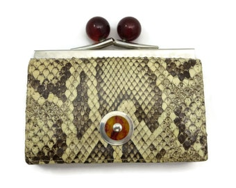 Snakeskin Wallet - Leather, Sacha France, Kisslock, Change Purse Clutch